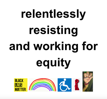 Women's March sign: relentlessly resisting and working for equity